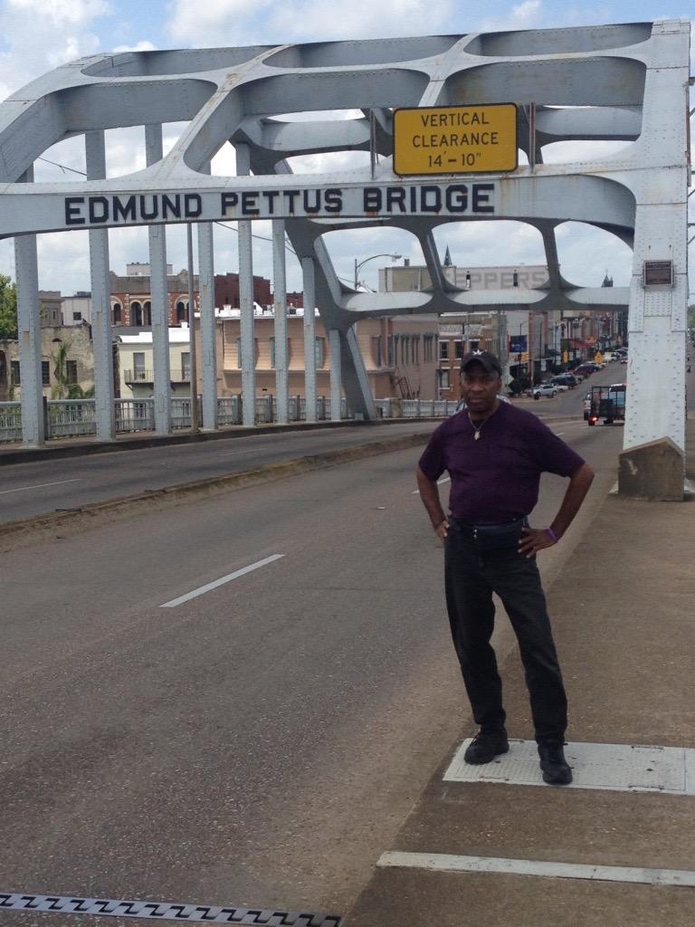 Reggie at the Edmund Pettus Bridge, Selma, AL